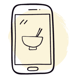 Drawed app icon with food