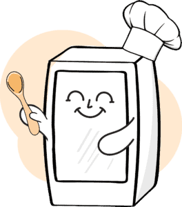 Drawed fridge icon with chef hat an spoon